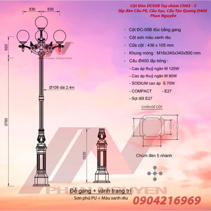 cột đèn trang trí 5 bóng đèn cầu