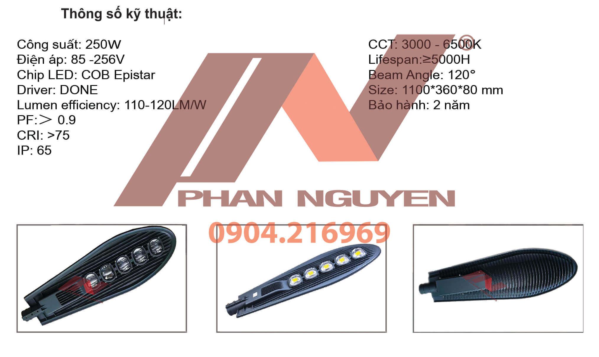 thông số tiêu chuẩn đèn đường led 250W