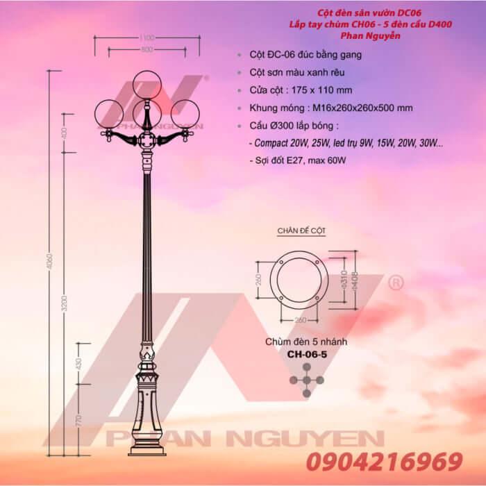 cột đèn trang trí DC06 tay chùm CH06-5