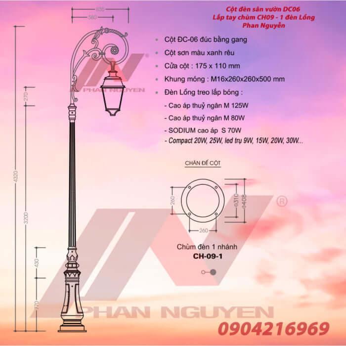cột đèn sân vườn 1 bóng đèn