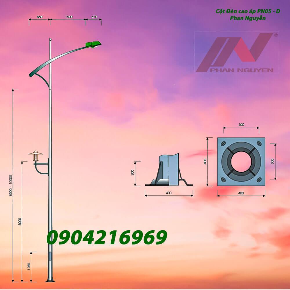 cột đèn chiếu sáng cần đơn PN05