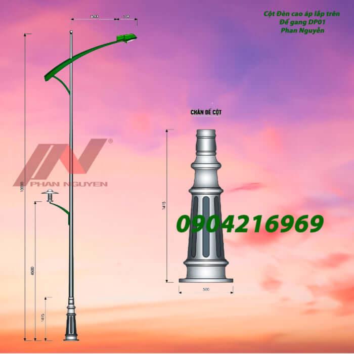 cột đèn chiếu sáng lắp trên đế gang DP01