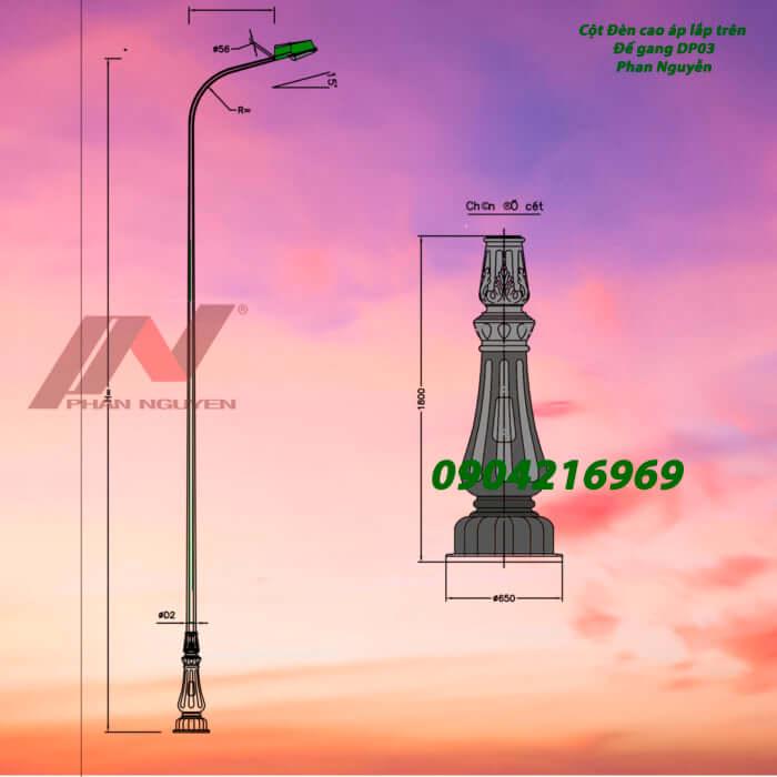 cột đèn chiếu sáng lắp đế gang DP03