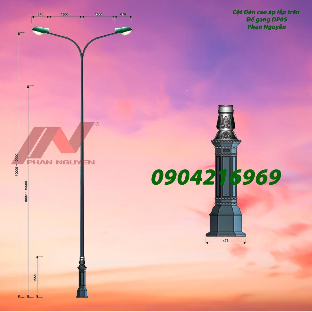 cột đèn chiếu sáng lắp đế gang DP05