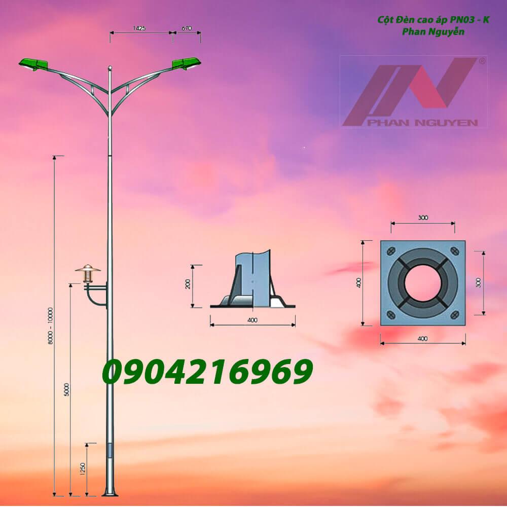 cột đèn chiếu sáng đôi PN03