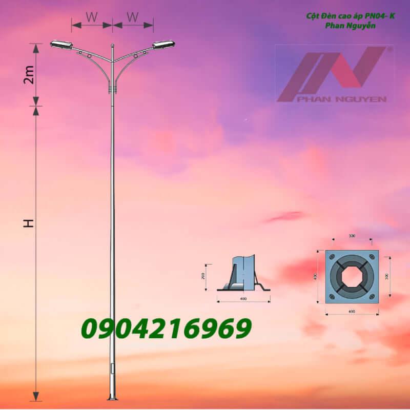 cột đèn chiếu sáng cần kép PN04