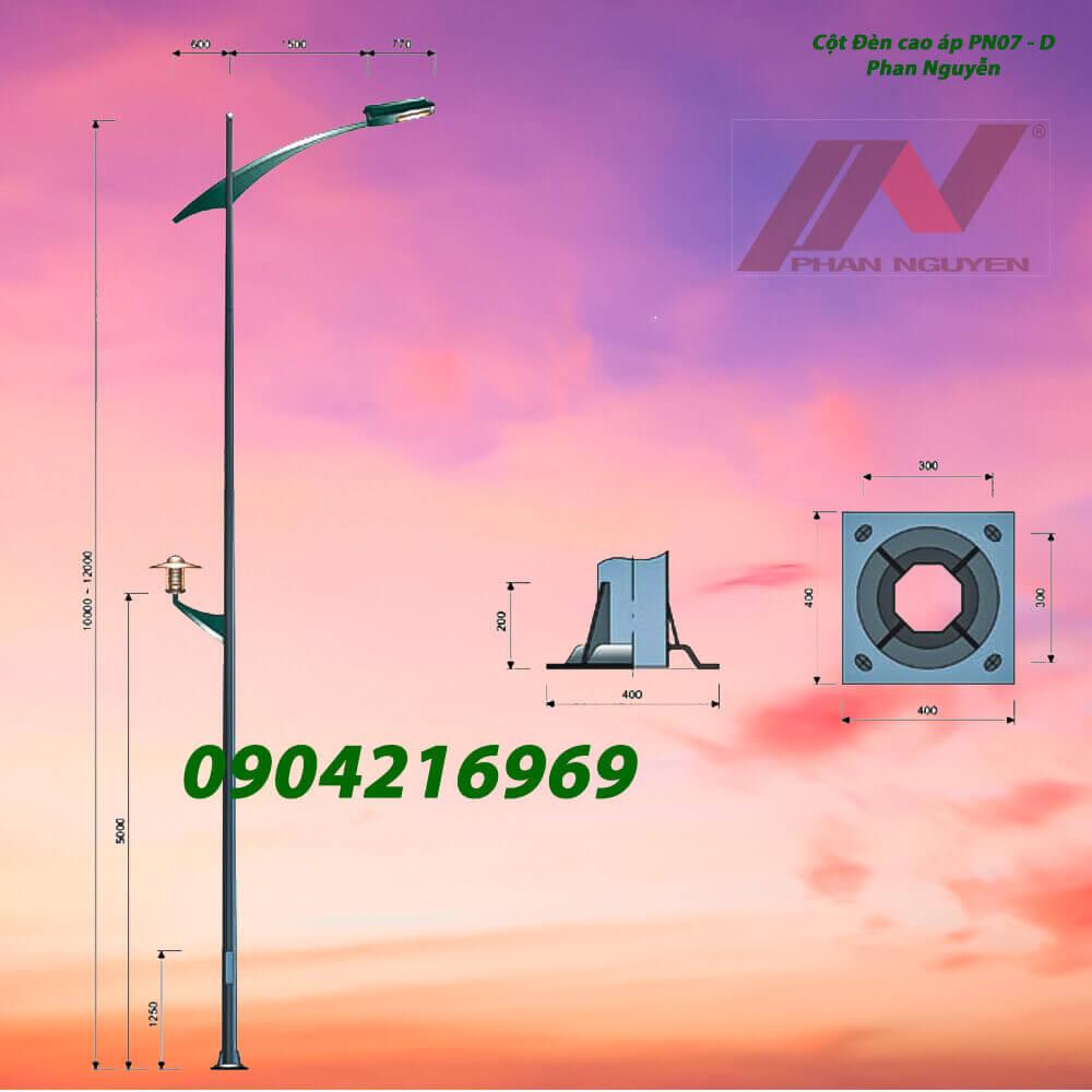 cột đèn chiếu sáng mạ kẽm PN07