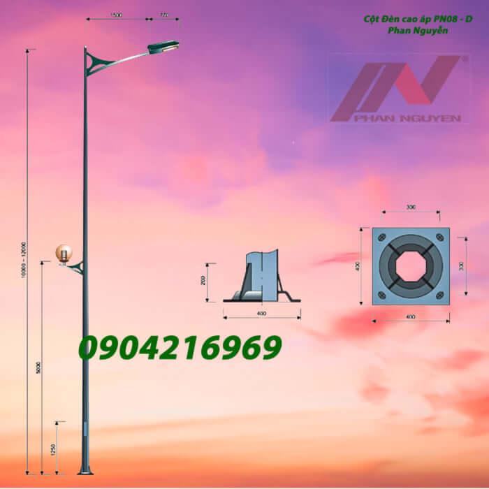 cột đèn chiếu sáng mạ kẽm PN08