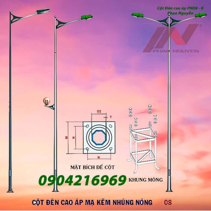 cột đèn chiếu sáng mạ kẽm cần đôi PN08