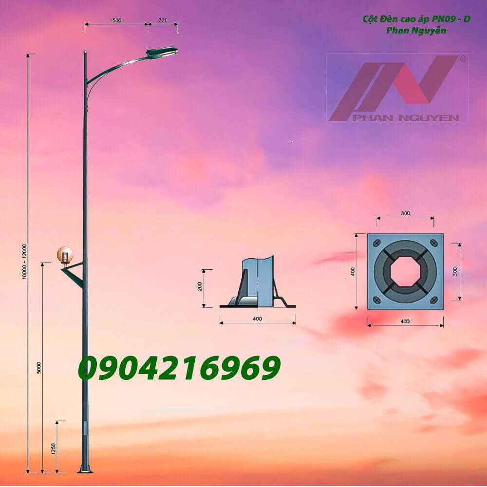 cột đèn chiếu sáng mạ kẽm nhúng nóng PN09
