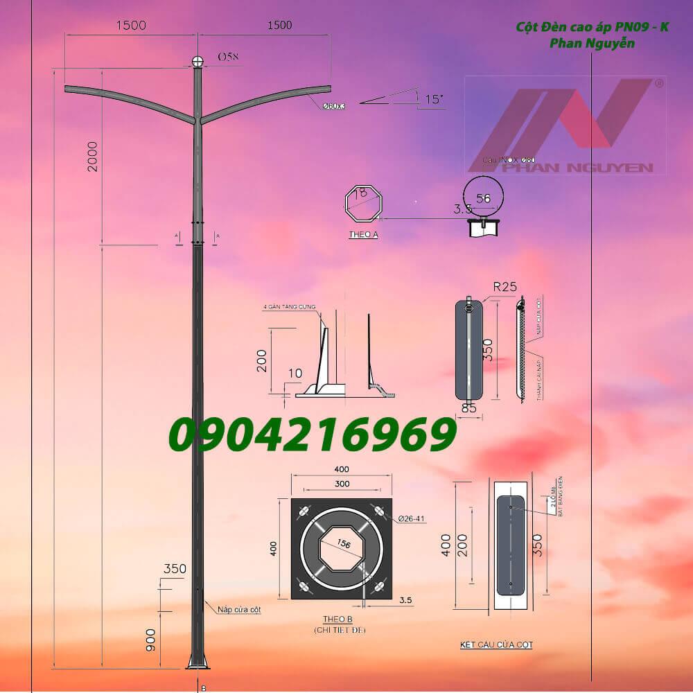 mẫu cột đèn đường PN09 đôi