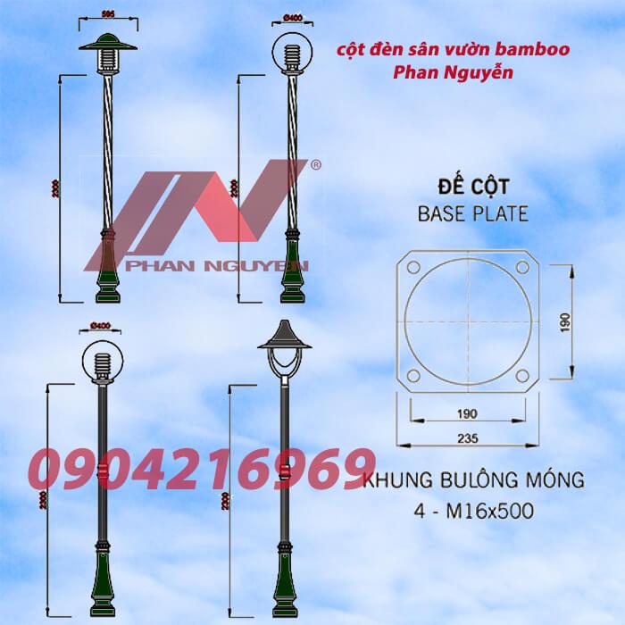 đèn lắp cột sân vườn bamboo