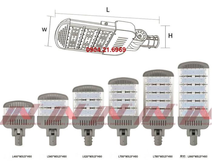 kích thước đèn đường led D2